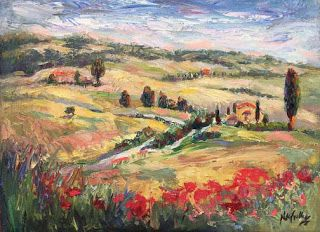"New ""Tuscan Vista"" Palette Knife Painting by Niki Gulley"