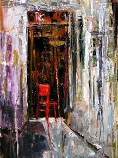 Abstract Still Life Painting 'Red Chair' by Texas Artist Debra Hurd