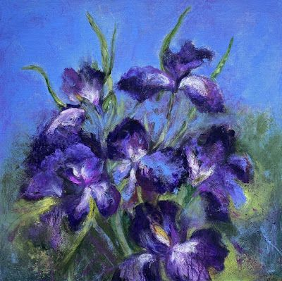 "Contemporary Purple Iris, Floral Painting, Botanical Art ""UNRESTRAINED"
