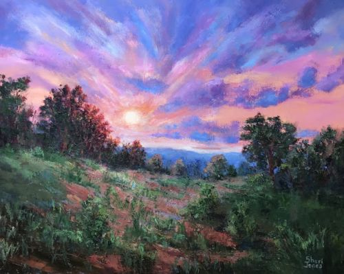 Contemporary Impressionistic Landscape Sunset Palette Knife Oil Painting by Sheri Jones