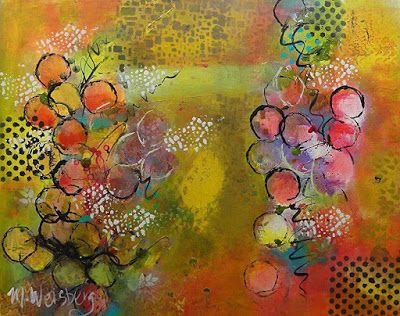 """Contemporary Abstract Fine Art Painting """"Feeling Bubbly"""" by Illinois Artist Marilyn Weisberg"""