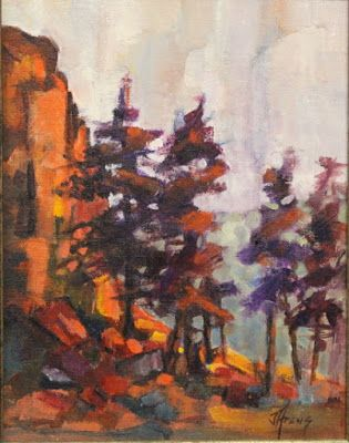 "Impressionist Landscape,Trees, Fine Art Oil Painting ""Gunnison River Cliffs"" by Colorado Contemporary Fine Artist Jody Ahrens"