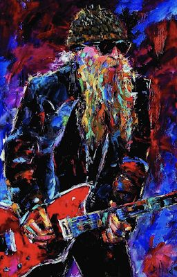 "Rock Guitar Music Art, Blues, Rock, Portrait,Figurative Painting ""Zz Top Billie Gibbons"" by Texas Artist Debra Hurd"