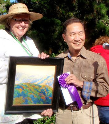 "Carmel Art Festival Best Watercolor Award for ""Carmel Valley Evening Glow"" from Mian Situ"