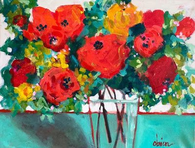 "Bold Expressive Still Life Flower Art Painting ""Saturday Flowers"" by Santa Fe Artist Annie O'Brien Gonzales"