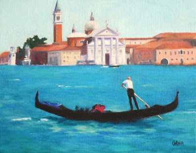 The Gondolier, Oil Painting, Original Art, 8x10 Venice Scene