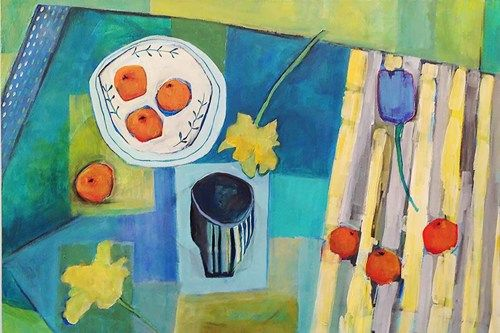 "Contemporary Expressionist Bold Still Life Flower Art Painting ""Mandarins and Daffodils"" by Santa Fe Artist Annie O'Brien Gonzales"