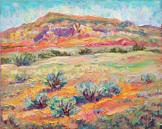 New Ghost Ranch Palette Knife Painting by Contemporary Impressionist Niki Gulley