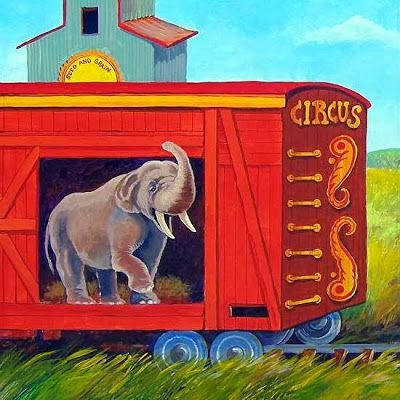 """Elephant Art Painting, Children's Art Illustration """"ILLUSTRATION FOR TRUNKS AND TAILS"""" by Colorado Artist Nancee Jean Busse"""