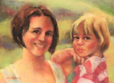 """Fine Art Portrait Painting """" Mommy and Me"""" by Illinois Artist Marilyn Weisberg"""