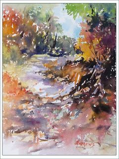 Morning Stroll..Watercolor..Texas Artist..Rae Andrews