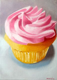 Mark Webster - Cupcake with Frosting Still Life Oil Painting 2.28.10