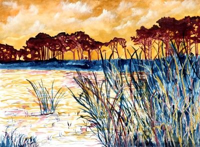 Coastal pines modern landscape painting