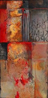 """Abstract Mixed Media Art Painting """"Red Beneath 14023"""" by Colorado Mixed Media Abstract Artist Carol Nelson"""