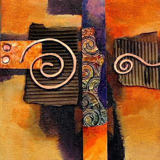 Abstract Mixed Media Painting 'Copper Curls' by Colorado Mixed Media Abstract Artist Carol Nelson