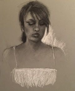 Sketch of Delia - original charcoal portrait sk