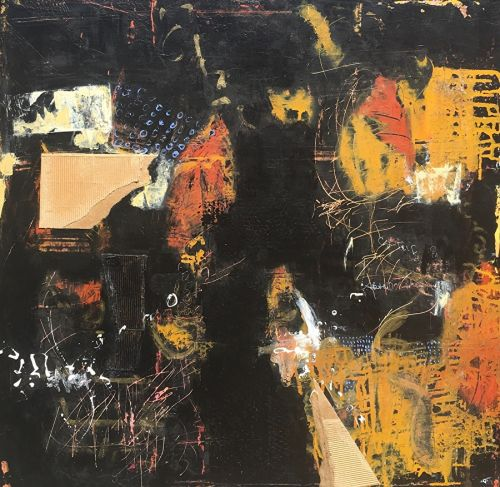"Contemporary Abstract Expressionist Painting ""MIDNIGHT IN NEW ORLEANS"" by Abstract Artist Pamela Fowler Lordi"