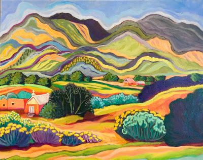 "Contemporary Bold Expressive New Mexico Landscape Painting ""Outside Taos"" by Santa Fe Artist Annie O'Brien Gonzales"