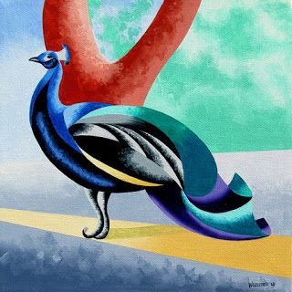 Mark Webster - Abstract Geometric Futurist Peacock Oil Painting