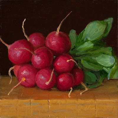 A bunch of radishes painting original still life daily painting a day vegetable
