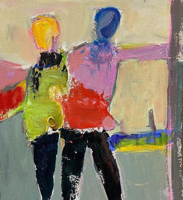 "Abstract Female Figurative Painting,""Leading the Way"" by Oklahoma Artist Nancy Junkin"