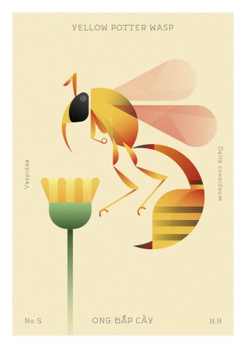 Geometric Insects Navigate Sparse Flora in Pastel Illustrations by Hoàng Hoàng