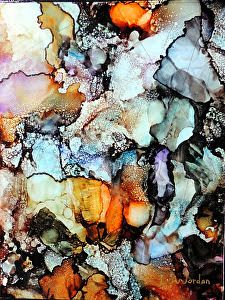 "Original Contemporary Abstract Mixed Media, Alcohol Ink Painting ""Streambed"" by Contemporary New Orleans Artist Lou Jordan"