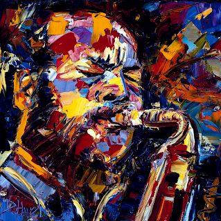 "Abstract Jazz Music Art Portrait Painting ""Ornette Coleman"" by Texas Artist Debra Hurd"
