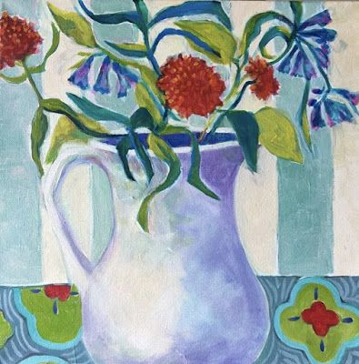 """Contemporary Expressionist Still Life Art Painting """"Mountain Wildflowers"""" by Santa Fe Artist Annie O'Brien Gonzales"""