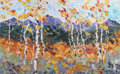 Palette Knife Aspen , Colorado Landscape Painting 'Mountain Magic' by Colorado Impressionist Judith Babcock