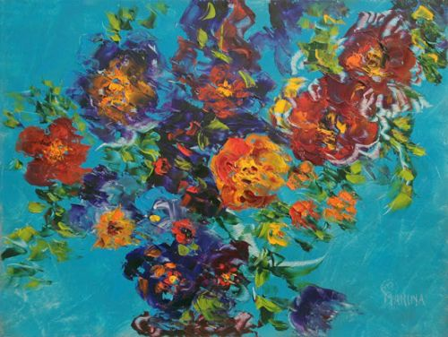 JOYFUL BLOSSOMS-Original Abstract Palette Knife Flower Oil Painting by Marina Petro