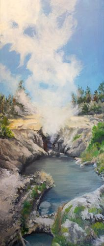 "Original Western Landscape Painting, Water, Stream, ""Dragons Mouth"" by Artist Nancee Jean, Painter of the American West"
