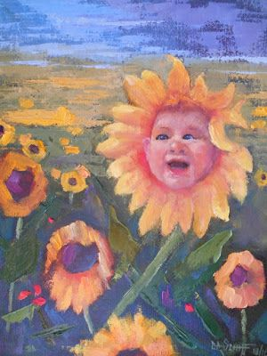 Child's Portrait, Sunflower Field Painting, Custom Oil Portrait