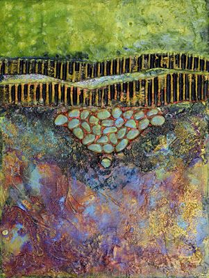 """Abstract Art, Contemporary Landscape Art Painting """"Turquoise Trail"""" by Santa Fe Contemporary Artist Sandra Duran Wilson"""