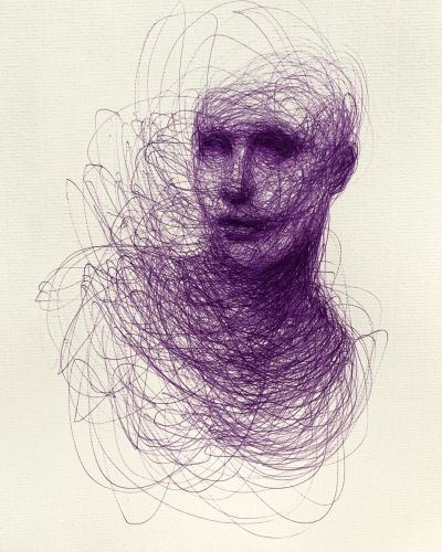 Scribbled Portraits of Brooding Figures by Adam Riches