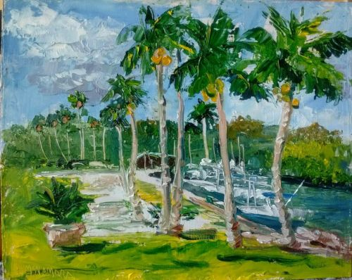 1792 Breezy Day at the Village Marina Plein Air Alla Prima