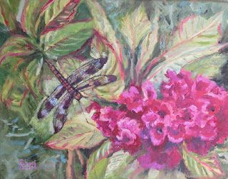 Dragonfly and Cockscomb, New Contemporary Landscape Painting by Sheri Jones