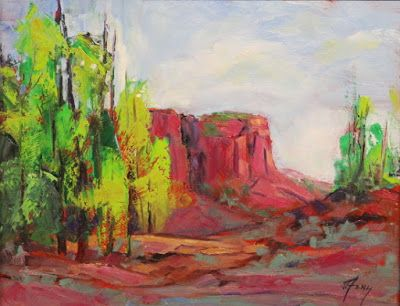 "Cottonwood Trees, Devil's Kitchen, Colorado National Monument,Contemporary Impressionist Colorado Landscape Painting, Fine Art Oil Painting ""Ballad of Time"" by Colorado Contemporary Fine Artist Jody Ahrens"