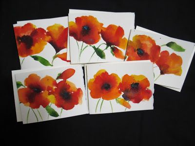 Watercolor Notecards- Poppies