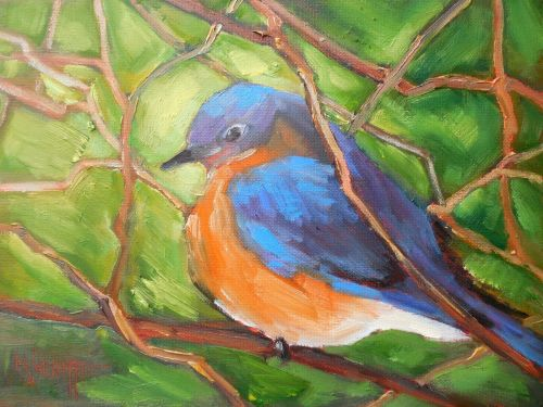 Bluebird Painting, Daily Painting,Small Bird Art, Small Oil Painting, Bluebird of Happiness