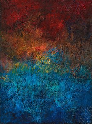 "Contemporary Art, Abstract Painting, Expressionism, Mixed Media, ""COME CLOSER"" by Contemporary Artist Liz Thoresen"