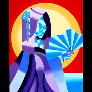 Mark Webster - Geisha - Abstract Geometric Futurist Figurative Oil Painting