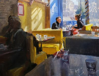 """""""A Table for Two"""" Paris, France, oil painting by Robin Weiss"""