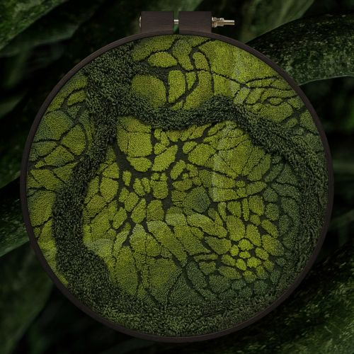 Mossy Mazes and Dense Forests Embroidered into Textured Landscapes by Litli Ulfur