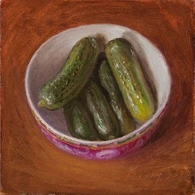 Pickled cucumbers in a bowl still life oil painting food daily painting a painting a day