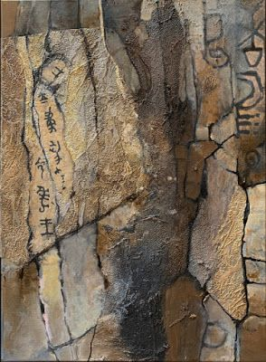 "Mixed media geologic abstract, ""Petroglyphs"", © Carol Nelson Fine Art"