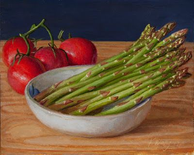 Tomatoes and asparagus still life painting a day vegetable daily painting