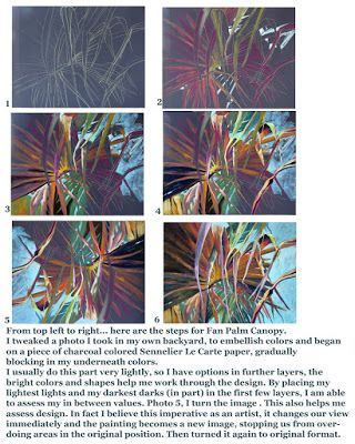 Fan Palm Canopy..Step by Step ..Pastel..Texas Artist..Rae Andrews