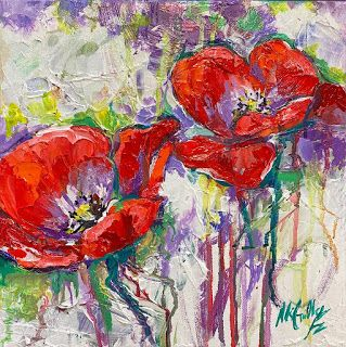 """Pops of Color"" Poppy Painting by Contemporary Impressionist Niki Gulley"