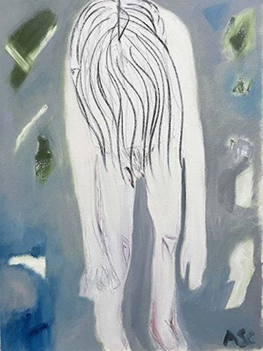 """Expressionist Female Figurative Painting, Adolescence Ascending Series, """"Madchen 2"""" by International Abstract Artist Amanda Saint Claire"""